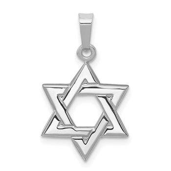 14K White Polished Star of David Pendant