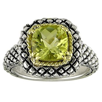 18kt and Sterling Silver Cushion Lemon Quartz Button Ring
