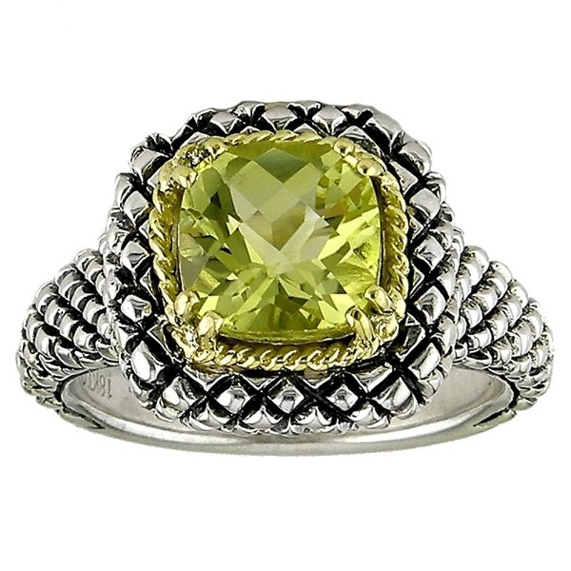Andrea Candela 18kt and Sterling Silver Cushion Lemon Quartz Button Ring