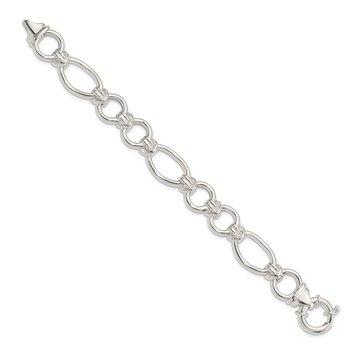 Sterling Silver Polished Fancy Link 7.5 inch Bracelet