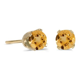 4 mm Round Citrine Stud Earrings in 14k Yellow Gold