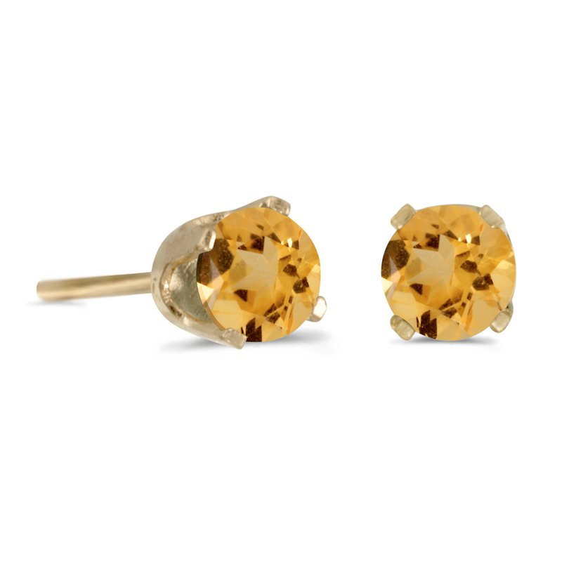 Color Merchants 14k Yellow Gold 4 mm Round Citrine Stud Earrings