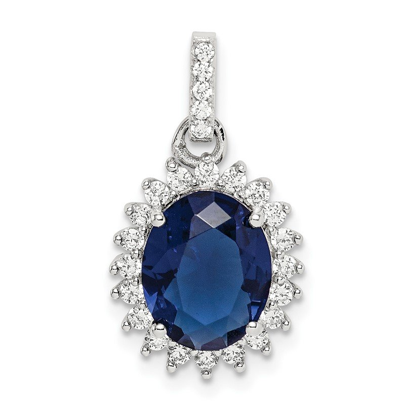 Quality Gold Sterling Silver Blue and Clear CZ Pendant