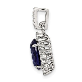 Sterling Silver Blue and Clear CZ Pendant