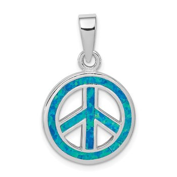 Sterling Silver Blue Inlay Created Opal Peace Sign Pendant