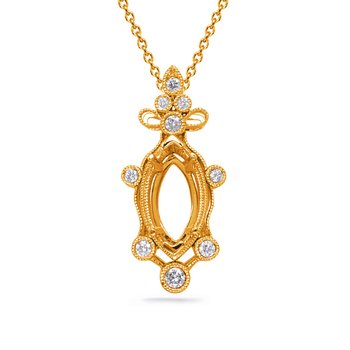 Yellow Gold Diamond Pendant 8x4mm