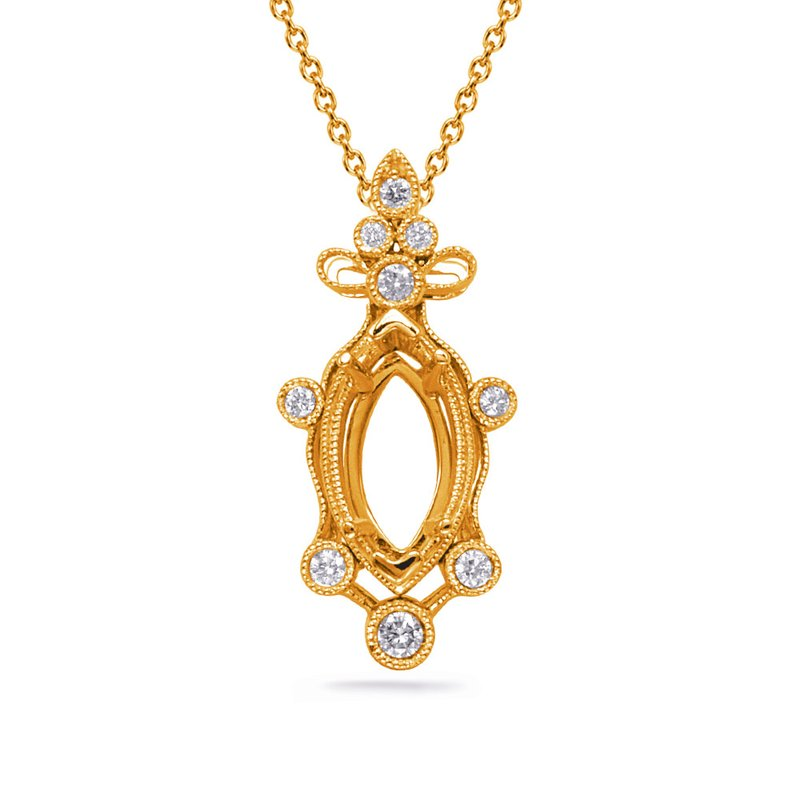 S. Kashi  & Sons Yellow Gold Diamond Pendant 8x4mm