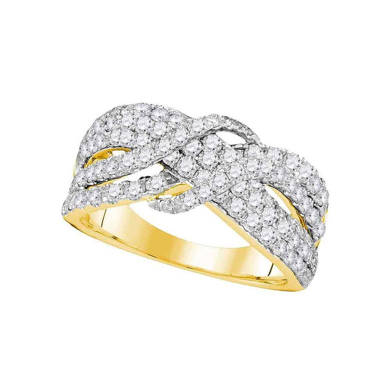 Kingdom Treasures 14kt Yellow Gold Womens Round Pave-set Diamond Crossover Strand Band 1-1/2 Cttw