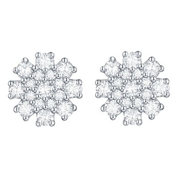 Smiling Rocks 1.03Ct G-H/VS1 Lab Grown Diamond Flower Cluster Stud Earring