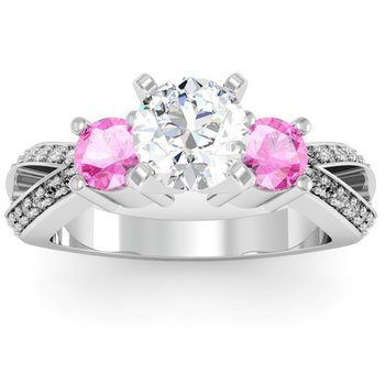 Pink Sapphire Accented Pave Diamond Engagement Ring