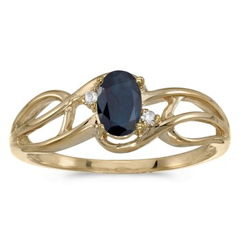 10k Yellow Gold Oval Sapphire And Diamond Curve Ring