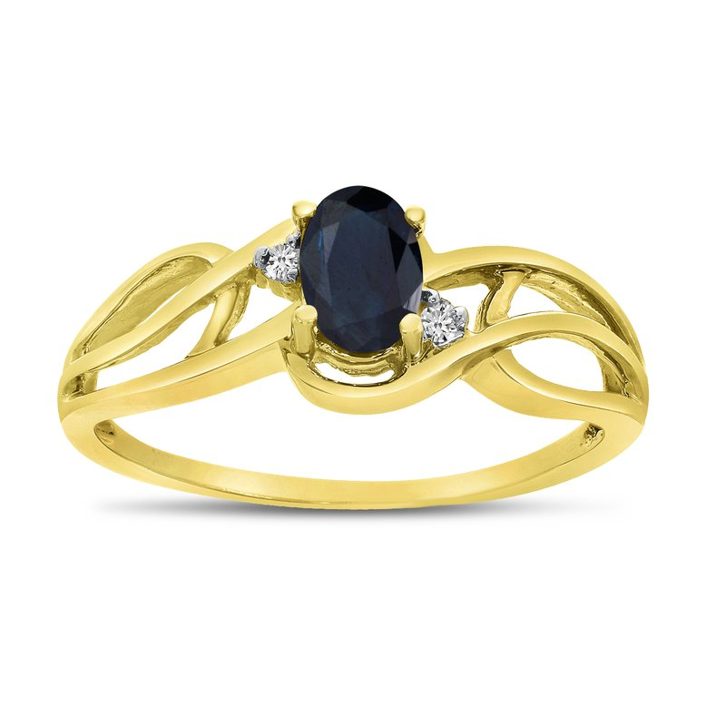 Color Merchants 10k Yellow Gold Oval Sapphire And Diamond Curve Ring
