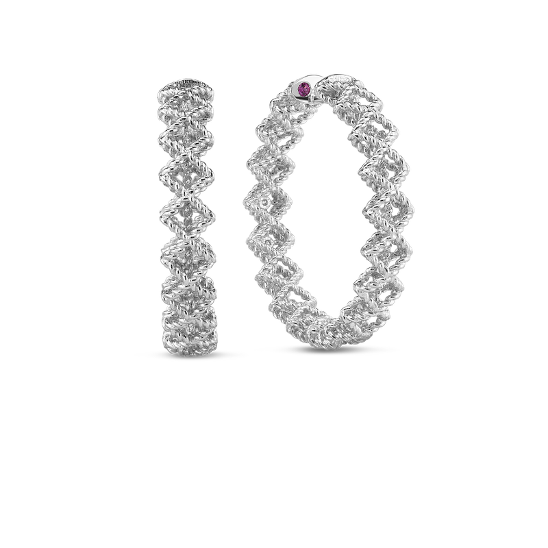 Roberto Coin  #19405 Of Large Round Diamond Hoop Earring