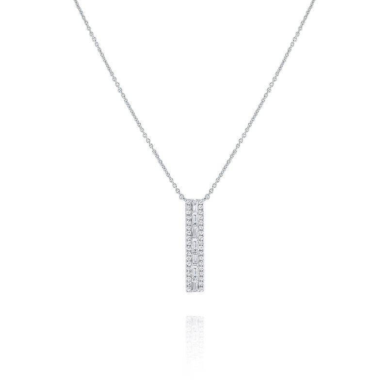 KC Designs 14K Pave and Mosaic Diamond Bar Necklace