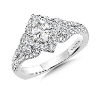 Diamond Halo Engagement Ring Mounting in 14K White Gold (0.47 ct. tw.)