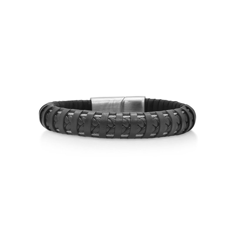 ALOR Black Leather Wrapped Bracelet with Grey Clasp