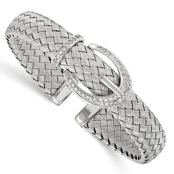 Leslie's Sterling Silver CZ Woven Flexible Cuff Bangle