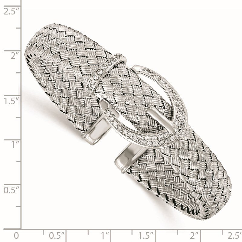 Leslie's Leslie's Sterling Silver CZ Woven Flexible Cuff Bangle