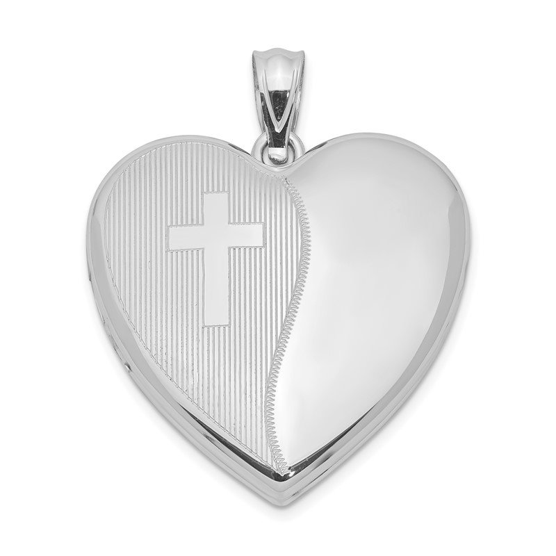 Quality Gold Sterling Silver Rhodium-plated 24mm with Cross Design Heart Locket