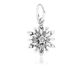 Disney, Frozen Snowflake Dangle Charm, Clear Cz