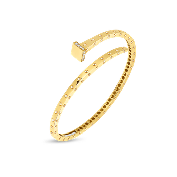 18KT GOLD SLIM CHIODO BANLGE WITH DIAMONDS