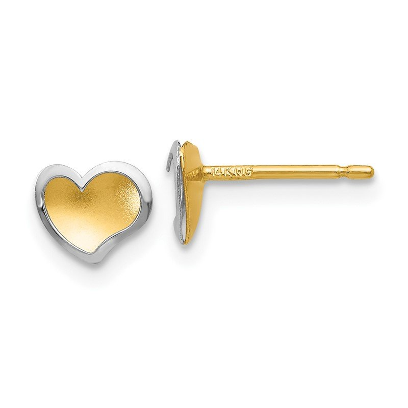 Quality Gold 14k Two-tone Polished and Satin Heart Post Earrings