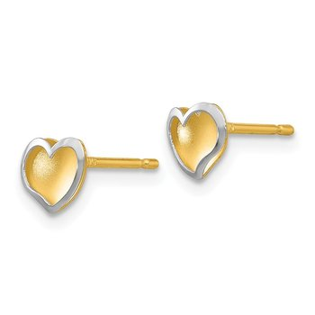 14k Two-tone Polished and Satin Heart Post Earrings