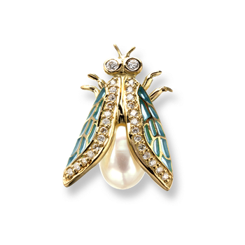 18 Karat Gold Cicada Necklace -Blue. Diamonds and Pearl.
