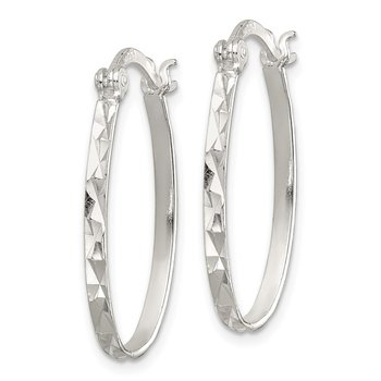Sterling Silver Polished/Textured 2mm Oval Hoop Earrings