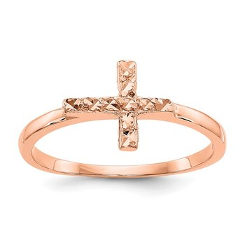 14k Rose Gold Polished & D/C Cross Ring