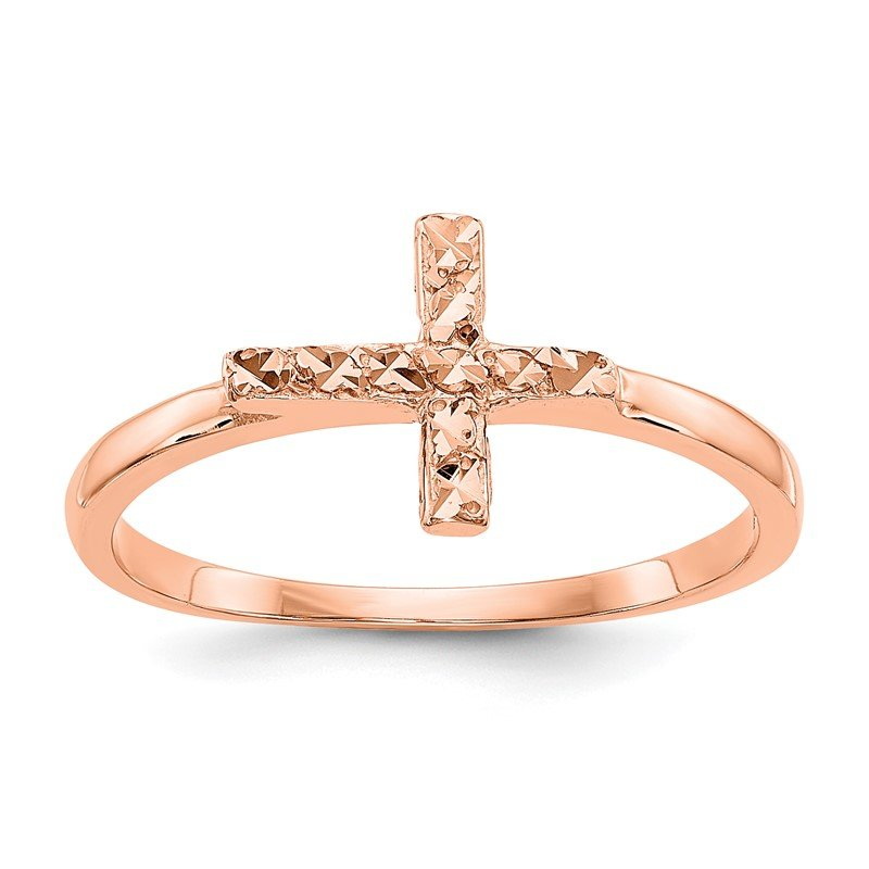 Lester Martin Online Collection 14k Rose Gold Polished & D/C Cross Ring