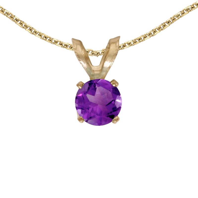 Color Merchants 14k Yellow Gold Round Amethyst Pendant
