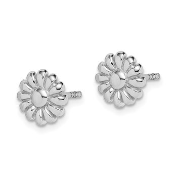 Sterling Silver Rhodium Plated Flower Earrings
