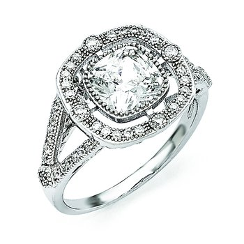 SS Rhodium-Plated & CZ Brilliant Embers Ring