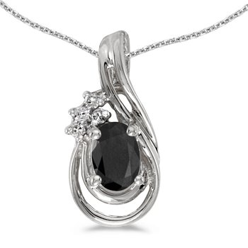 10k White Gold Oval Onyx And Diamond Teardrop Pendant