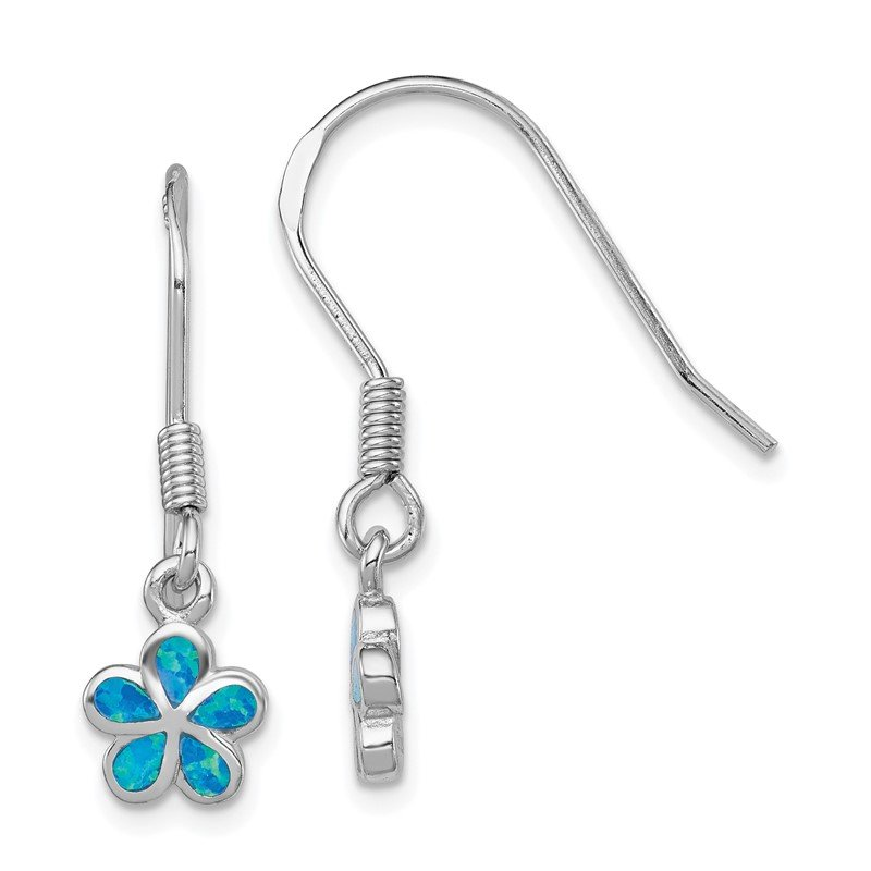 Quality Gold Sterling Silver Created Blue Opal Inlay Flower Dangle Earrings