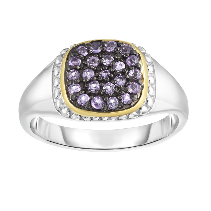 Royal Chain Sterling Silver & 18K Gold Pave Gemstone Signet Ring