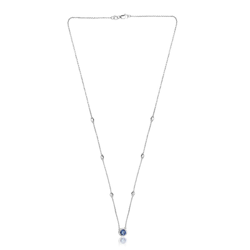 Roman & Jules Round Sapphire Halo Necklace