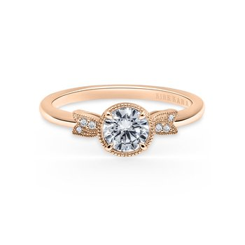 Leaf Milgrain Diamond Engagement Ring