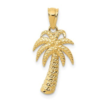 14k Textured Polished Palm Tree Pendant