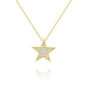 14k Gold and Diamond Pave Star Necklace