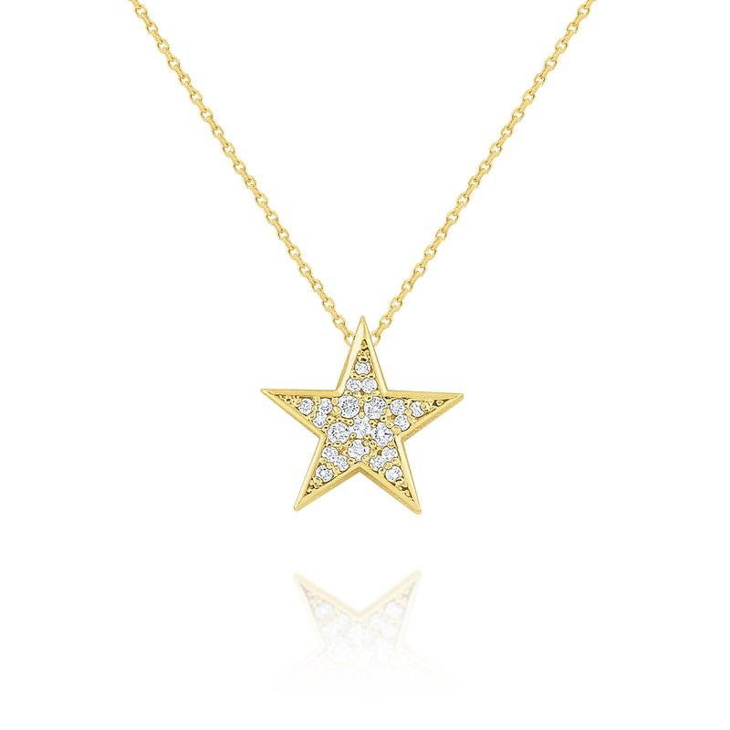 MAZZARESE Fashion 14k Gold and Diamond Pave Star Necklace