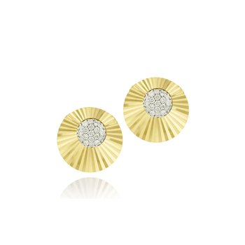 Yellow gold diamond offset mini Aura stud earrings