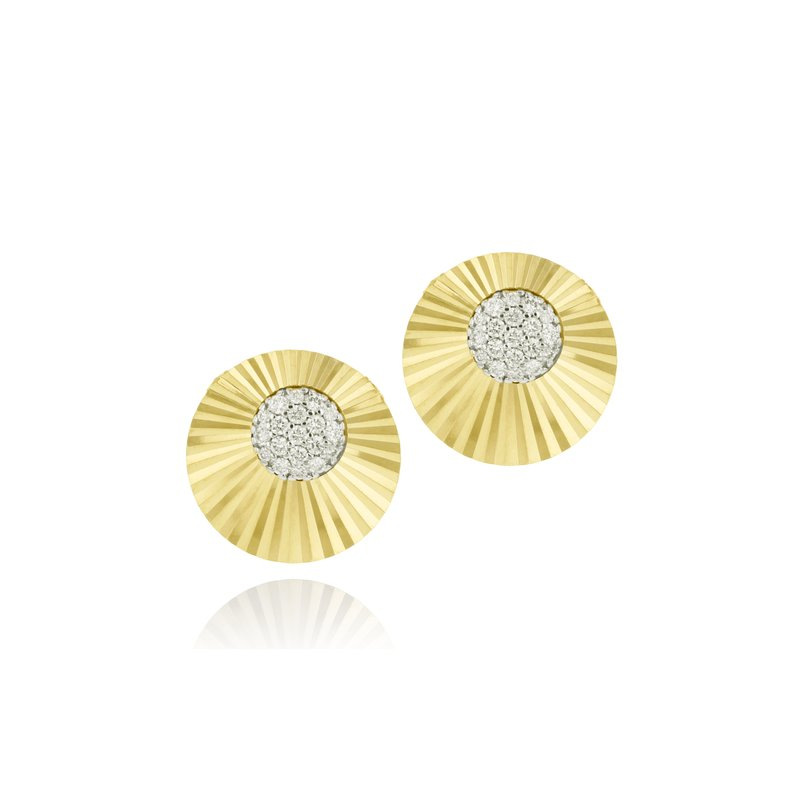 Phillips House Yellow gold diamond offset mini Aura stud earrings