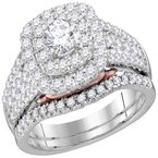 Bellissimo 14kt White Gold Womens Round Diamond Bellissimo Bridal Wedding Engagement Ring Band Set 1-1/2 Cttw