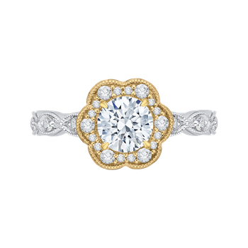 18K Two-Tone Gold Carizza Semi Mount Engagement Ring