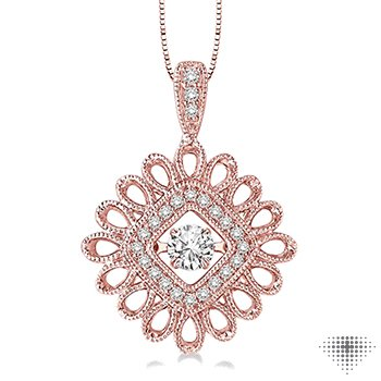 Flower Shape Emotion Diamond Pendant