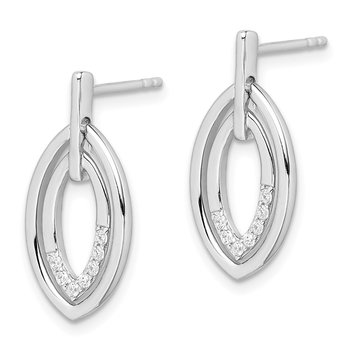 Sterling Silver Rhodium-plated Moveable Double Leaf CZ Earrings