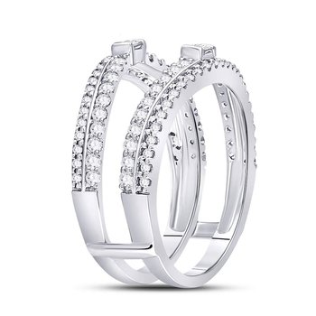 14kt White Gold Womens Round Diamond Ring Guard Enhancer Wedding Band 3/4 Cttw
