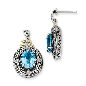 Sterling Silver w/14k Diamond & Blue Topaz Earrings